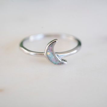 Opal Moon Ring   Sterling Silver Opal Ring   Sterling Silver Moon Ring   Moon Opal Ring   Opal Ring  