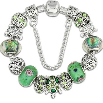 Antique Silver Color Sea Turtle Charm Bracelet & Bangles Green Glass  FREE SHIPPING