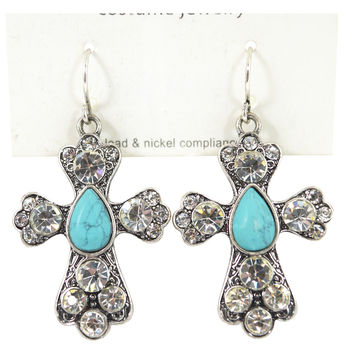 Western Cowgirl Bohemian Crystal with Turquoise accent Cross Earrings (B30)