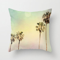 Throw Pillow Cover Palm Trees 2 Fine Art Photo Indoor and Outdoor Pillow Covers available Mint green pink yellow throw pastel circle modern