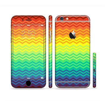 The Rainbow Thin Lined Chevron Pattern Sectioned Skin Series for the Apple iPhone 6 Plus