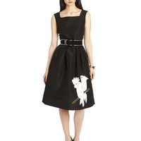 PARROT EMBROIDERED SILK FAILLE DRESS WITH SELF BELT