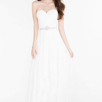 Alyce Paris - Prom Collection -  Strapless Chiffon Dress with Beaded Waist 6676