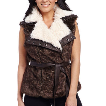 Belted Faux Fur Vest With Faux Leather Grommet Collar