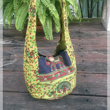 Green Hippie Elephant Mini Shoulder Bag Sling Gyspy Boho Pouch Peacock Ethnic Aztec Art Printed Purse Beach Tote For School Bags Crossbody