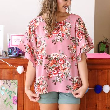 Dreaming Of Roses Top, Dusty Rose