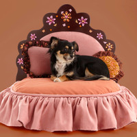 Pink and orange tiara pet bed with rhinestone flower design