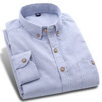 New Spring Cotton Washed Men Casual Shirt Long Sleeve Neck Button-Up Plus Size High-grade Autumn Men Striped Shirts