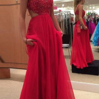 A-Line Sleeveless Backless Red Prom Dresses Evening Dresses