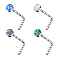 BodyJ4You 4PCS 20G Nose Ring L-Shaped Studs Surgical Steel Created-Opal Body Jewelry Piercing 2.5mm
