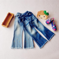 YC0236 Retail 2016 New Spring Fashion Baby Girl Jeans Solid Girl Flare Trouses Girls Pants Denim Casual Girl Clothes Lolita