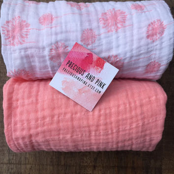 Swaddle Blankets, Baby Girl,  Coral Receiving Blankets, Lightweight Double Gauze, Car Seat, Stroller Blankets,  Baby Gift, Ready to Ship