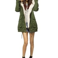 Cocobla Women's Parka Hooded Long Trench Overcoat Casual Coat Jacke