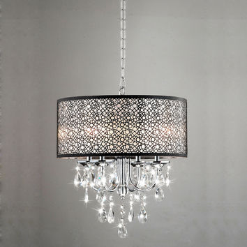 Indoor 4-light Chrome/ Crystal/ Metal Bubble Shade Chandelier | Overstock.com