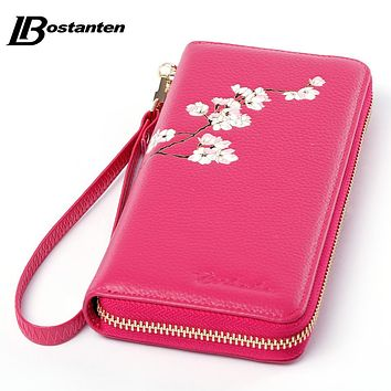 BOSTANTEN Causal Designer Zipper Women Long Wallets Elegant Female Genuine Leather Wallet Floral Lady Phone Bag Day Clutch Purse