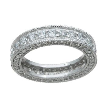 925 Sterling Silver Eternity Ring 1.5 Carat Weight- Size 8