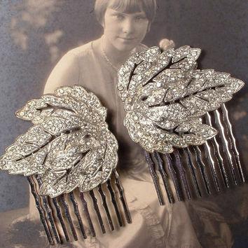 PAIR Original Art Deco 1920s Pave Rhinestone Leaf Bridal Hair Combs, Antique Dress Clips to Hair Accessories Juliet Veil Wedding Hairpieces