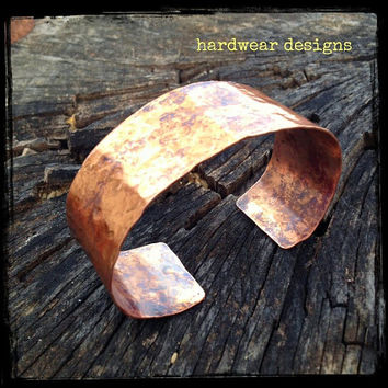 HAMMERED COPPER CUFF Bracelet - Hammered Solid Copper - Rustic Tones - Simple and Elegant