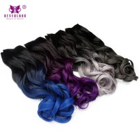 """Synthetic Ombre Curly Wavy 24"""" 5 Clips Clip-in Hair Extensions"""