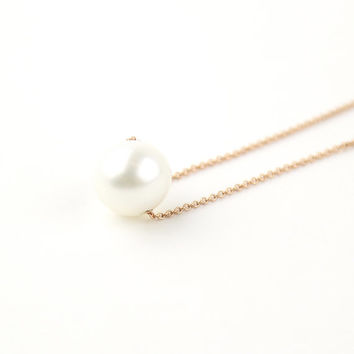 Pearl Necklace, Minimalist Necklace, Natural Freshwater Pearl, Pearl Pendant Necklace, 14K Gold Necklace, Bridal Bridesmaid Jewelry