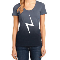 Harry Potter Inspired Clothing - Lightning Bolt Ombre Scoop Neck Tee - Ladies