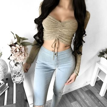 Crop Top Wrap Summer Long Sleeve Sexy Tops [167761444879]