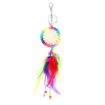Natural Colorful agate keyring fashion silver feather dreamcatcher keychain