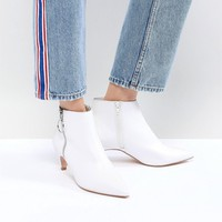 Faith White Zip Detail Peg Heeled Ankle Boots at asos.com