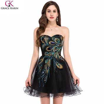 Grace Karin Short Cocktail Dresses Peacock Dress Embroidery Ball Gown Black White Tulle Special Occasion Dress Party Gowns