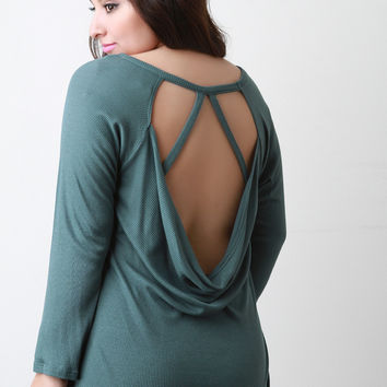 Thermal Knit Open Back Top