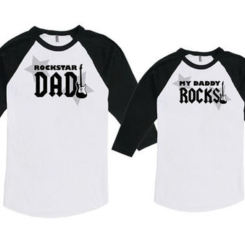 Matching Father Son Shirts Father Daughter Gift Rockstar Dad My Daddy Rocks Matching Set Bodysuit American Apparel Unisex Raglan MAT-748-749