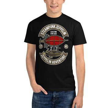 Recycled Organic T Shirts Retro Vintage T Shirt Classic Tee Steampunk Zeppelin Adventure