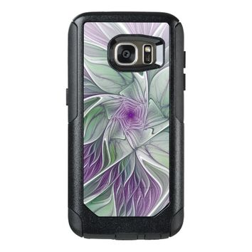 Flower Dream, Abstract Purple Green Fractal Art OtterBox Samsung Galaxy S7 Case