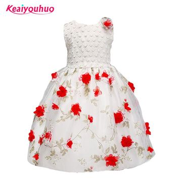 2017 Kids Girl Flower Tulle Tutu Lace Dress Beautiful Wedding Party Dress Girls Formal Pageant Princess Summer birthday Dresses