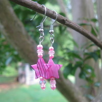 Pink Star Earrings Two - Handmade Jewelry