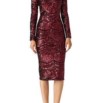 Dress The Population Burgundy Emery Dress