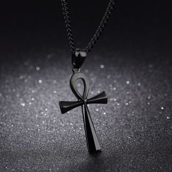 "Meaning ""Life"" Egyptian Ankh Pendants Necklace in Stainless Steel Hieroglyph Jewelry with 22'' Free Chain - Silver, Gold, Black"