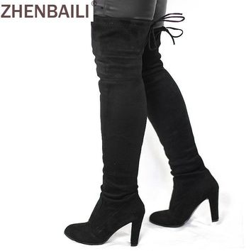 Women Faux Suede Thigh High Boots Fashion Over the Knee Boot Stretch Flock Sexy Overkn