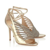 Gold Mix Mirror Leather and Lamé Glitter Sandals | Florry | Cruise 15 | JIMMY CHOO Shoes