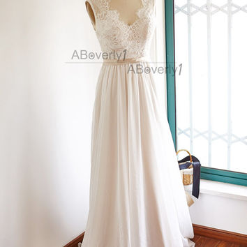 Lace Chiffon Wedding Dress Backless Open Back V Back Bridal Gown with Champagne Lining