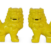 Pair of Foo Dog Bookends, Yellow, Bookends