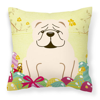 Easter Eggs English Bulldog White Fabric Decorative Pillow BB6123PW1818