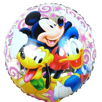 Lucky 30pcs/lot 45*45cm Mickey Minnie Balloon Cartoon Mouse Duck Foil Helium Balloons For Party Decoration Inflatable Ballon Toy