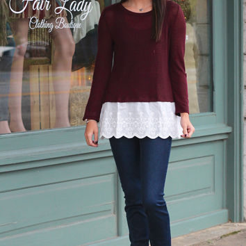 Lovely Lace Knit Top {Burgundy}