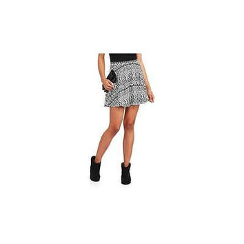 Juniors Printed Skater Skirt, Black White Aztec, Medium No Boundaries