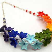Rainbow - Ombre jewelry - Floral necklace - Spring jewelry - Handmade polymer necklace