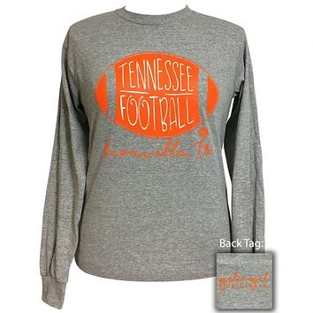 Girlie Girl Preppy Tennessee Football Long Sleeve T-Shirt