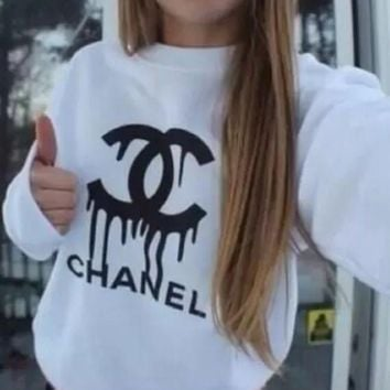 VONVJ2 CHANEL Fashion Casual Long Sleeve Sport Top Sweater Pullover Sweatshirt