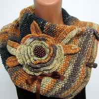 Neck Warmer Boutique scarf Neck Warmer Marbled beige, brown, light brown Hand knit - Bulky Scarf Wool - Chunky Infinity Scarf- Neck Warmer