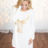 Christmas Reindeer Head Tunic/Dress White/Gold